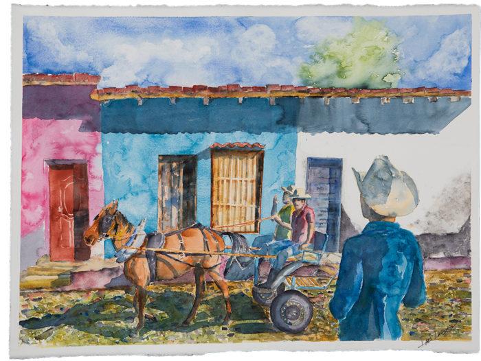 Akvarell Trinidad Kuba