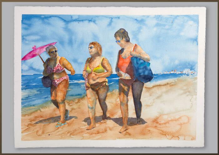 Kvinnor pa stranden, Cadis Spanien
